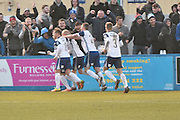 Barrow celebrate 2-2 during the Vanarama National League match between Barrow and Forest Green Rovers at Holker Street, Barrow, United Kingdom on 28 January 2017. Photo by Mark Pollitt.