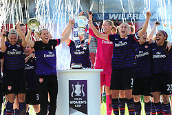 Arsenal players lift the FA Cup to celebrate - Photo mandatory by-line: Joseph Meredith/JMP - Tel: Mobile: 07966 386802 - 26/05/2013 - SPORT - FOOTBALL - Keepmoat Stadium - Doncaster . Arsenal Ladies v Bristol Academy WFC - The FA Women's Cup.