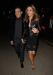 Elizabeth Hurley and Jake Maskall enjoy an evening out at Scott's restaurant in Mayfair, London, UK. 19/09/2015<br />BYLINE MUST READ : GOTCHAIMAGES.COM<br /><br />Copyright by © Gotcha Images Ltd. All rights reserved.<br />Usage of this image is conditional upon the acceptance <br />of Gotcha Images Ltd, terms and conditions available at<br />www.gotchaimages.com
