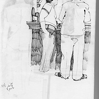 Sketchbook drawing of male figures standing at bar in public house
