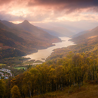 The fine view over Kinlochleven and Loch Leven nestled between the peaks of Sgorr na Ciche (the 'Pap') and Beinn na Caillich on an Autumn's evening.
