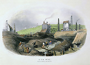Tin mine between Cambourne and Redruth, Cornwall. Washing ore foreground. Background, Cornish steam engine houses powering mine pumps and raising machinery. Engraving c1860.