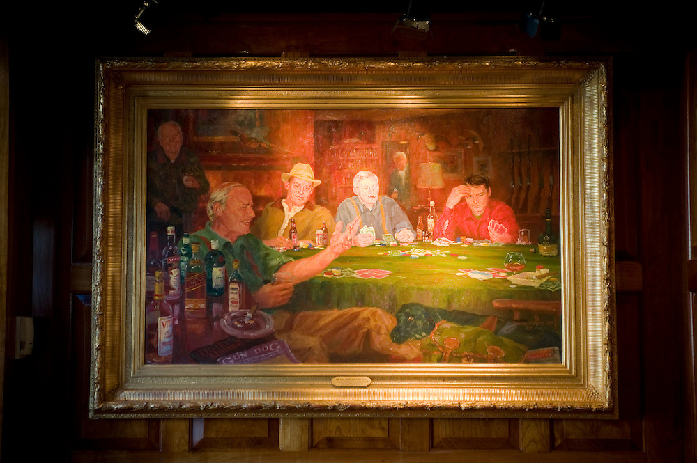 "Washington, DC  - A classic oil painting entitled ""Tall Tales, Bluffs, and other Drivel"" by Claiborne Duncan Gregory hangs at the Old Ebbitt Grill on 15th Street Northwest in Washington, DC. © Susana Raab,"