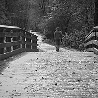 A hooded man walking across a wooden bridge along a forest path.