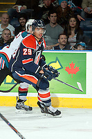 KELOWNA, CANADA -FEBRUARY 1: Edson Harlacher D #29 of the Kamloops Blazers skates against the Kelowna Rockets on February 1, 2014 at Prospera Place in Kelowna, British Columbia, Canada.   (Photo by Marissa Baecker/Getty Images)  *** Local Caption *** Edson Harlacher;