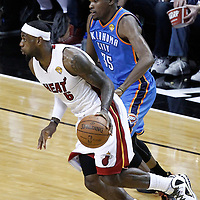 17 June 2012: Miami Heat small forward LeBron James (6) drives past Oklahoma City Thunder small forward Kevin Durant (35) during the Miami Heat 91-85 victory over the Oklahoma City Thunder, in Game 3 of the 2012 NBA Finals, at the AmericanAirlinesArena, Miami, Florida, USA.