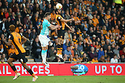 Hull City midfielder Ahmed Elmohamady (27)  wins the ball in the air during the Sky Bet Championship play-off 2nd leg match between Hull City and Derby County at the KC Stadium, Kingston upon Hull, England on 17 May 2016. Photo by Simon Davies.