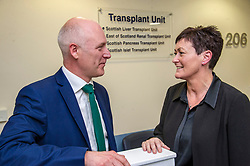 Pictured: Joe FitzPatrick and Kathyrn Hand<br /> <br /> Organ Donation Week marked. Public Health Minister Joe FitzPatrick met with Kathryn Hand, who underwent life-changing islet cell transplantation, at the Royal Infirmary, Edinburgh, today to mark Organ Donation Week. Mr FitzPatrick was ahown around by Mr John Casey, Clinical advisor for organ transplantation<br /> <br /> Ger Harley: 3 September 2018