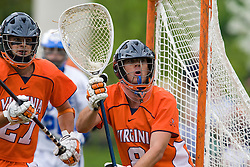 Virginia Goalie Bud Petit (8) in action against Duke.  The #2 ranked Duke Blue Devils defeated the #3 ranked Virginia Cavaliers 11-9 in the finals of the Men's 2008 Atlantic Coast Conference tournament at the University of Virginia's Klockner Stadium in Charlottesville, VA on April 27, 2008.