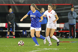 04 November 2016:  Sydney Hamker(7) & Kiley Czerwinski(3) during an NCAA Missouri Valley Conference (MVC) Championship series women's semi-final soccer game between the Indiana State Sycamores and the Illinois State Redbirds on Adelaide Street Field in Normal IL