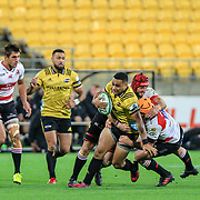 Ngani Laumape   during the Super rugby (Round 12) match played between Hurricanes  v Lions, at Westpac Stadium, Wellington, New Zealand, on 5 May 2018.  Hurricanes won 28-19.