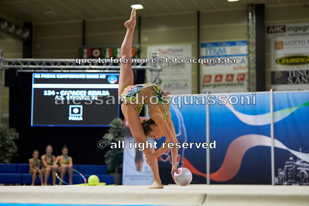 Giulia Capacci from Gymnica 96 team during the Italian Rhythmic Gymnastics Championship in Padova, 25 November 2017.