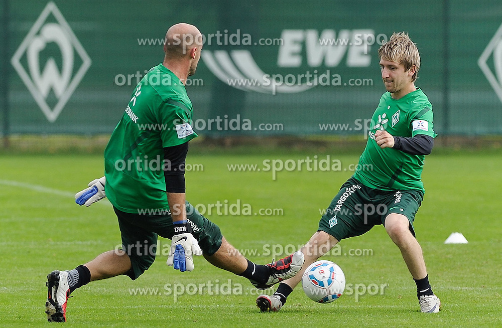 24.08.2011, Trainingsgelaende, Bremen, GER, 1.FBL, Training Werder Bremen, im Bild Christian Vander (Bremen #33), Marko Marin (Bremen #10)..// during training session of Werder Bremen on 2011/08/24, Trainingsgelaende, Bremen, Germany..EXPA Pictures © 2011, PhotoCredit: EXPA/ nph/  Frisch       ****** out of GER / CRO  / BEL ******