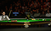 19.02.2016. Cardiff Arena, Cardiff, Wales. Bet Victor Welsh Open Snooker. Mark Selby versus Ronnie O'Sullivan. Ronnie O'Sullivan at the table.