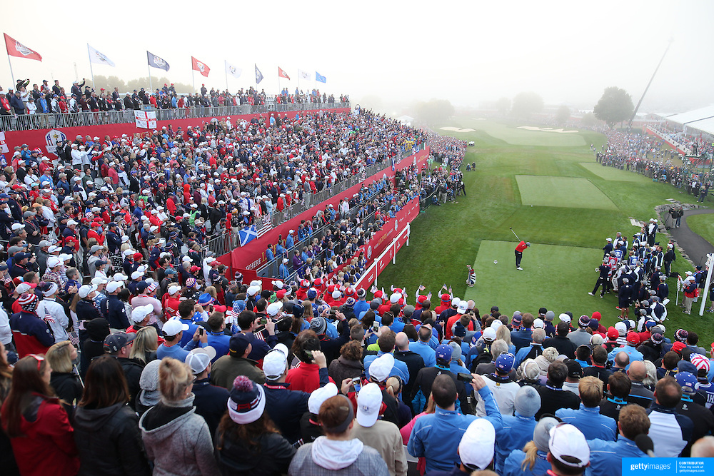 Ryder Cup 2016. Day One. Patrick Reed of the United States tees off at the first hole in the Friday morning foursomes during the Ryder Cup competition at the Hazeltine National Golf Club on September 30, 2016 in Chaska, Minnesota.  (Photo by Tim Clayton/Corbis via Getty Images)