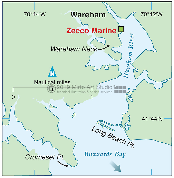 Vector map of Wareham, Massachusettes marina