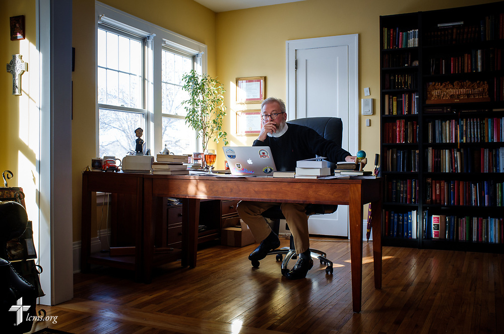 The Rev. David Kind, pastor of University Lutheran Chapel, pauses during a thought while he works in his office at Luther House on Wednesday, Feb. 21, 2018, next to the University of Minnesota, Twin Cities, in Minneapolis. LCMS Communications/Erik M. Lunsford