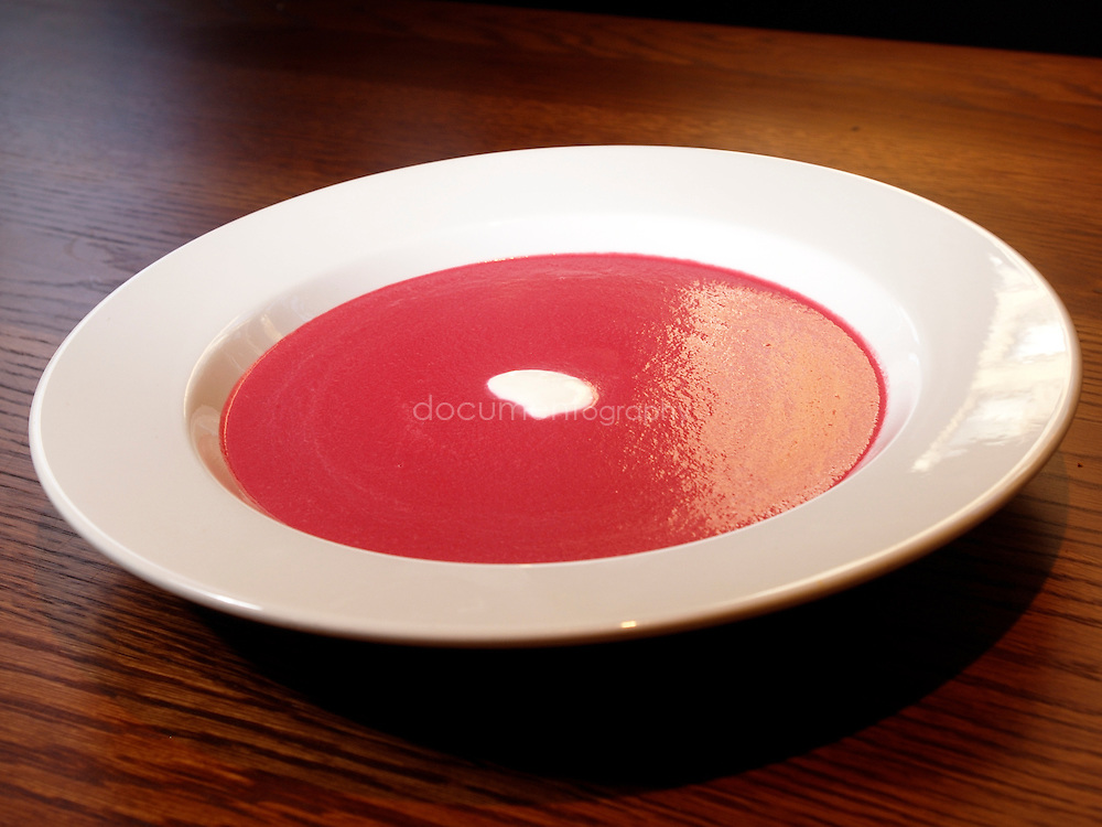 Red beetroot and cream soup. Acorn House, 69 Swinton Street, London, WC1.