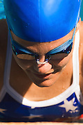 Swimmer in Cap and Goggles