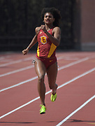 Mar 18, 2017; Los Angeles, CA, USA; Anna Cockrell of Southern California runs in a women's 200m heat during the Trojan Invitational at Cromwell Field.