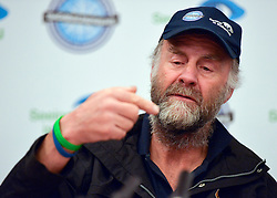 """© Licensed to London News Pictures. 04/03/2013. Heathrow, UK SIR RANULPH FIENNES. Explorer Sir Ranulph Fiennes returns to the UK after pulling out of """"The Coldest Journey"""" Expedition to the Antarctic at winter due to frostbite. The Coldest Journey Press Conference today 4th March 2013 at Heathrow Airport. Photo credit : Stephen Simpson/LNP"""