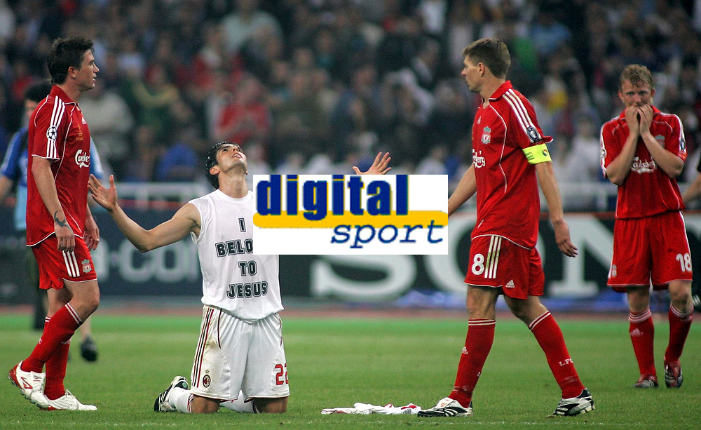 Photo: Paul Thomas.<br /> AC Milan v Liverpool. UEFA Champions League Final. 23/05/2007.<br /> <br /> Kaka celebrates the win on the final whistle, while Liverpool players are dejected.