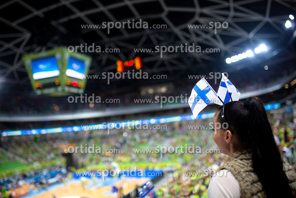 Fan from Finland during basketball match between national team of Finland and Slovenia at Eurobasket 2013 on September 16, 2013 in SRC Stozice, Ljubljana, Slovenia. (Photo By Matic Klansek Velej / Sportida.com)