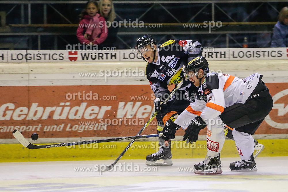 16.09.2016, Messestadion, Dornbirn, AUT, EBEL, Dornbirner Eishockey Club vs Moser Medical Graz 99ers, 1. Runde, im Bild James Livingston, (Dornbirner Eishockey Club, #26) und Brendon Nash, (Moser Medical Graz 99 ers, #04) // during the Erste Bank Icehockey League 1st Round match between Dornbirner Eishockey Club and Moser Medical Graz 99ers at the Messestadion in Dornbirn, Austria on 2016/09/16. EXPA Pictures © 2016, PhotoCredit: EXPA/ Peter Rinderer