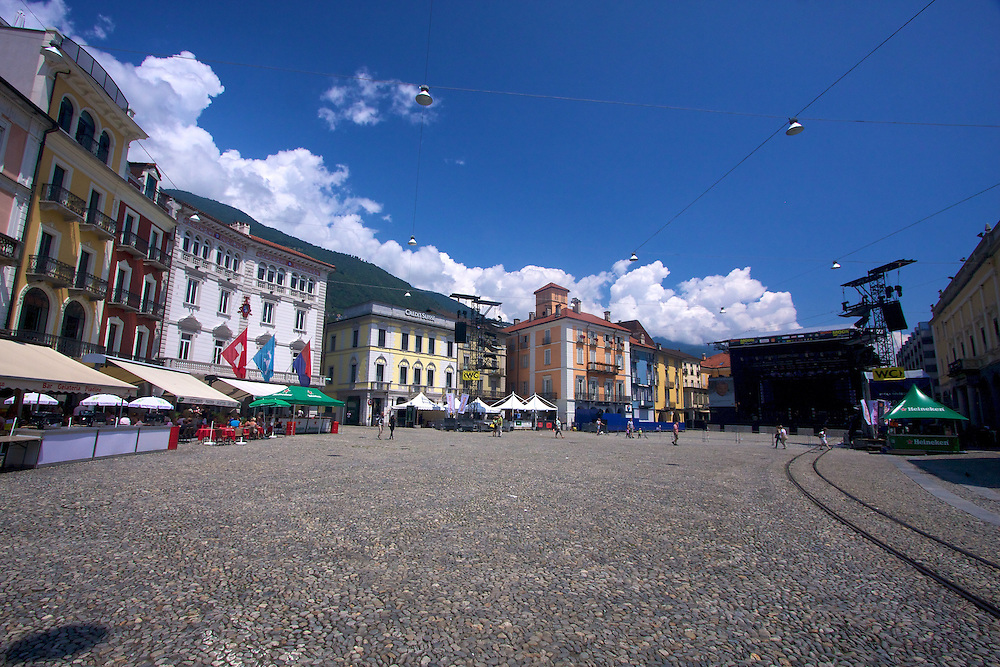 "Locarno's Grand Piazza, home to the world's largest outdoor film festival and a central point for city activities since the Romans, hosts the yearly Moon & Stars festival in the summer, bringing in great music. The piazza gets ready in the daytime for the party later in the evening...Top Movies & Music avaiable ""al Fresco"" in the Piazza!"