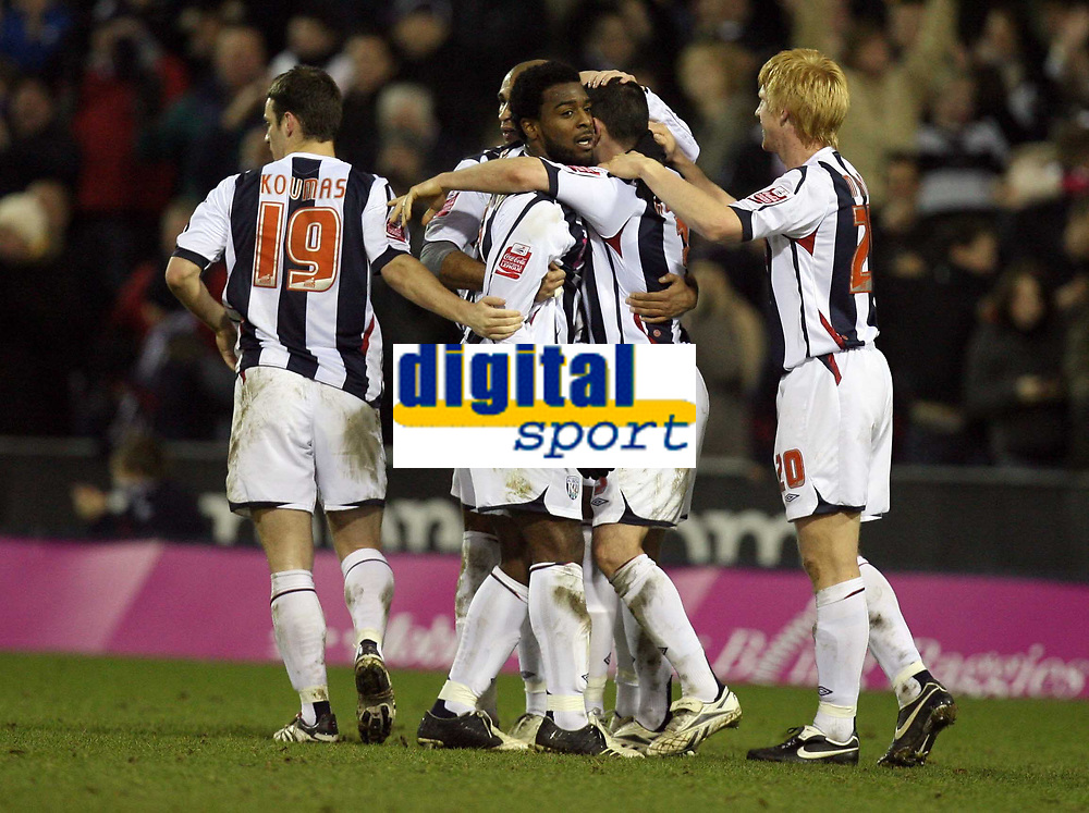 Photo: Rich Eaton.<br /> <br /> West Bromwich Albion v Preston North End. Coca Cola Championship. 26/12/2006. Nathan Ellington #9 2nd left scores in the second half to make it 4-2 to West Brom and is congratulated by his teammates