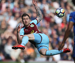 Ashley Barnes of Burnley (L) misses the ball - Mandatory by-line: Jack Phillips/JMP - 14/04/2018 - FOOTBALL - Turf Moor - Burnley, England - Burnley v Leicester City - English Premier League