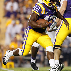 September 10, 2011; Baton Rouge, LA, USA;  LSU Tigers running back Michael Ford (42) against the Northwestern State Demons during the second half at Tiger Stadium. LSU defeat Northwestern State 49-3. Mandatory Credit: Derick E. Hingle