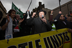 © Licensed to London News Pictures . 28/02/2015 . Newcastle , UK . Respect Party MP for Bradford West GEORGE GALLOWAY speaks in support of Newcastle United , opposing the Pegida demonstration . Hundreds attend the first Pegida demonstration in the UK , at the Bigg Market in Newcastle . Photo credit : Joel Goodman/LNP