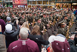 The Texas Aggies Band marched down Beale Street Sunday evening for a pep rally.