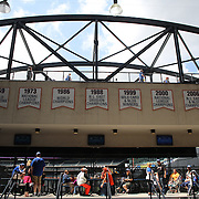 Fans arriving to the game cross Shea Bridge, a feature of Citi Field during the New York Mets V Pittsburgh Pirates Baseball game at Citi Field, Queens, New York. USA. 12th May 2013. Photo Tim Clayton