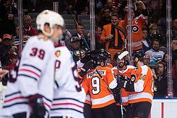 Players of Philadelphia Flyers celebrating goal during NHL game between teams Chicago Blackhawks and Philadelphia Flyers at NHL Global Series in Prague, O2 arena on 4th of October 2019, Prague, Czech Republic. Photo by Grega Valancic / Sportida