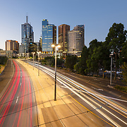 Light trails and Melbourne skyline at night