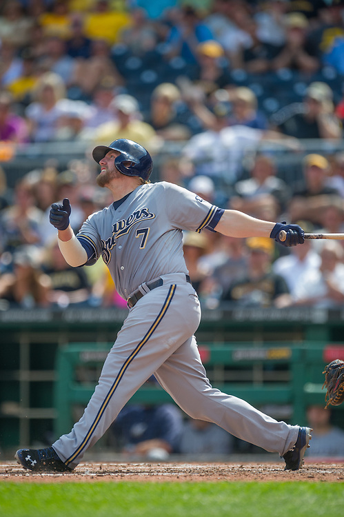 PITTSBURGH, PA - JUNE 08: Mark Reynolds #7 of the Milwaukee Brewers bats during the game against the Pittsburgh Pirates at PNC Park on June 8, 2014 in Pittsburgh, Pennsylvania. (Photo by Rob Tringali) *** Local Caption *** Mark Reynolds