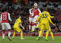 Football - UEFA 2017 / 2018 Europa League - Group H: Arsenal vs. FC BATE Borisov<br /> <br /> Olivier Giroud (Arsenal FC) and Calum Chambers (Arsenal FC) get in each others way as they compete for the header at The Emirates.<br /> <br /> COLORSPORT/DANIEL BEARHAM
