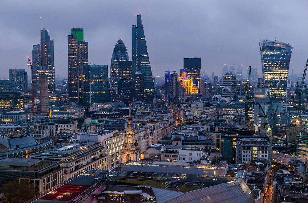 A view of the London Financial District from atop St Paul's Cathedral, UK.