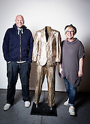 Sculptor Beth Cullen Kerridge and celebrated Chef Tom Kerridge  with &quot;Empty Suit 2008&quot; during the private view of Beth Cullen&rsquo;s exhibition &lsquo;Suits&rsquo; in Hoxton London on October 01, 2014.<br />  <br /> Beth &amp; Tom co own The Hand and Flowers, the restaurant they founded in Marlow in 2005, eventually became the first pub to be awarded two Michelin stars, and Kerridge&rsquo;s cookbook, Proper Pub Food, has sold more than 250,000 copies. His next volume, Best Ever Dishes, was released last month ahead of a BBC2 television series in October. The couple are about to open a second pub-restaurant.