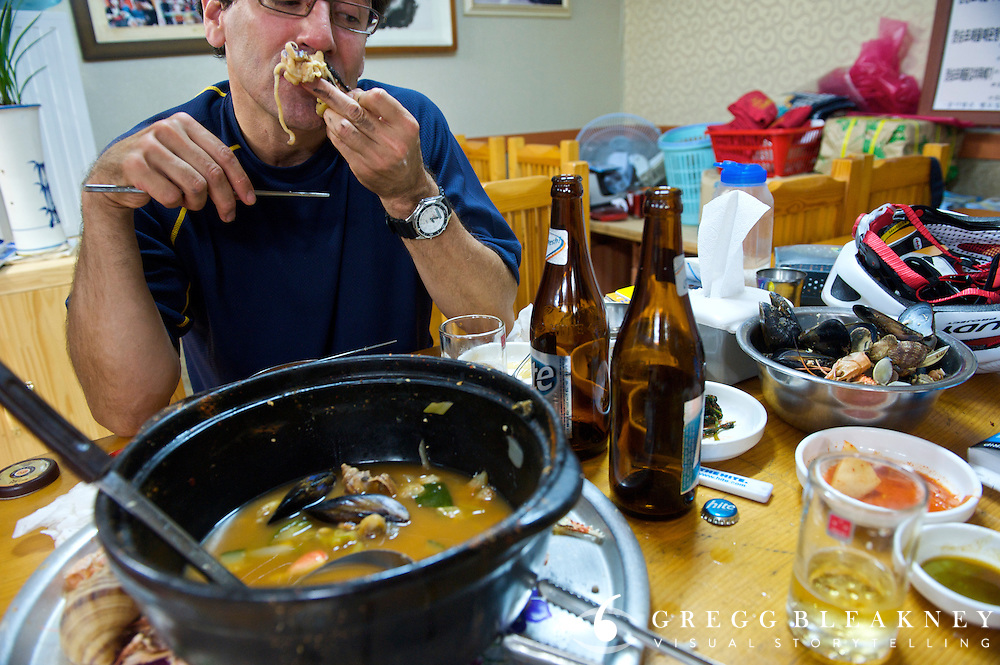 Greg McCormack eats Cuttlefish hot pot - Geoje Island - South Korea