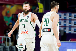 Jonas Valanciunas of Lithuania and Donatas Motiejunas of Lithuania during basketball match between National Teams of Lithuania and Greece at Day 10 in Round of 16 of the FIBA EuroBasket 2017 at Sinan Erdem Dome in Istanbul, Turkey on September 9, 2017. Photo by Vid Ponikvar / Sportida