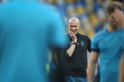 May 25, 2018 - Kiev, Ukraine - Real Madrid's French coach Zinedine Zidane during a Real Madrid team training session at the Olympic Stadium in Kiev, Ukraine on May 25, 2018, on the eve of the UEFA Champions League final football match between Liverpool and Real Madrid. (Credit Image: © Raddad Jebarah/NurPhoto via ZUMA Press)