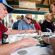 MIAMI, FLORIDA, APRIL 22, 2017<br /> Pedro Raya, 86 in blue shirt, smiles as he plays dominoes  in Miami's Little Havana neighborhood's Maximo Gomez Domino Park. Many Miami Cubans voted for Donald Trump in the general elections. Trump will soon complete his first 100 days as United States President.<br /> (Photo by Angel Valentin/Freelance)