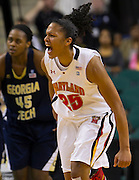 Maryland forward Alyssa Thomas (25) is excited during the closing moments of their championship game against Georgia Tech in the 2012 ACC Women's Basketball Tournament in Greensboro, North Carolina.  Maryland wins the championship 68 - 65.  March 04, 2012  (Photo by Mark W. Sutton)