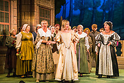 Dress rehearsal of Haddon Hall performed by the National Gilbert & Sullivan Opera Company in Buxton Opera House, Buxton, England on Thursday 02 August 2018 Photo: Jane Stokes<br /> <br /> DIRECTOR/Sarah Helsby Hughes<br /> CONDUCTOR/Andrew Nicklin<br /> CHOREOGRAPHER/ Jackie O'Brien<br /> <br /> CAST<br /> <br /> JOHN MANNERS/ Nick Sales<br /> SIR GEORGE VERNON/Donald Maxwell<br /> OSWALD/ David Menezes<br /> RUPERT VERNON/Richard Suart<br /> THE McCRANKIE/Bruce Graham<br /> SING-SONG SIMEON/Bobby Greatorex<br /> KILL-JOY CANDLEMAN/<br /> NICODEMUS KNOCK-KNEE/Mike Nash<br /> BARNABAS/Max Taylor<br /> MAJOR DOMO/<br /> DOROTHY VERNON/Rachel Harland<br /> LADY VERNON/Catherine Marriott<br /> DORCAS/Bee Bradley<br /> NANCE/Joanne Robinson<br /> GERTRUDE/Val Green<br /> DEBORAH/Alexandra Mather<br /> <br /> THE CHORUS