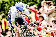 Norwich, UK: June, 15, 2016  Alison Tetrick of Cyclone Pro Cycling team breaks clear of the peloton in the closing section of stage one of the 2016 Aviva Women's Tour from Southwold to Norwich.
