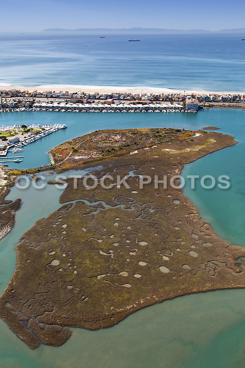 Aerial Stock Photo of Seal Beach National Wildlife Refuge in Huntington Beach Orange County