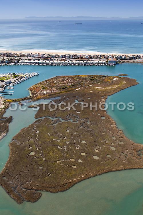 Aerial Stock Photo of Seal Beach National Wildlife Refuge in Huntington Beach Orange County